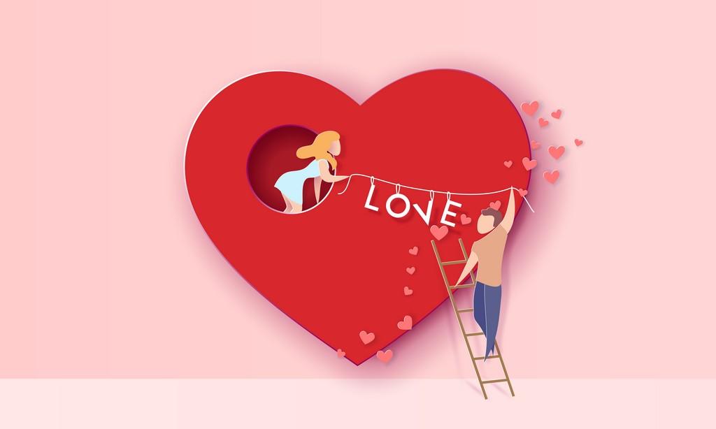 Tomber amoureux avec échelle de l'amour